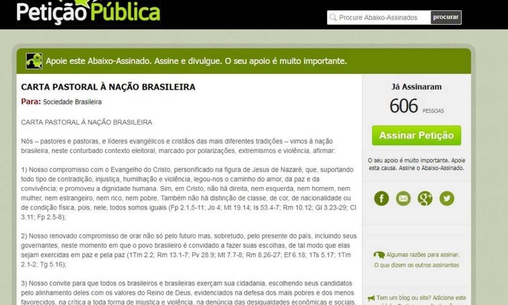 Carta pastoral à nação brasileira - Petição