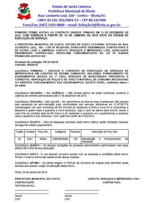 Contrato de aluguel de impressoras da Prefeitura de Ilhota
