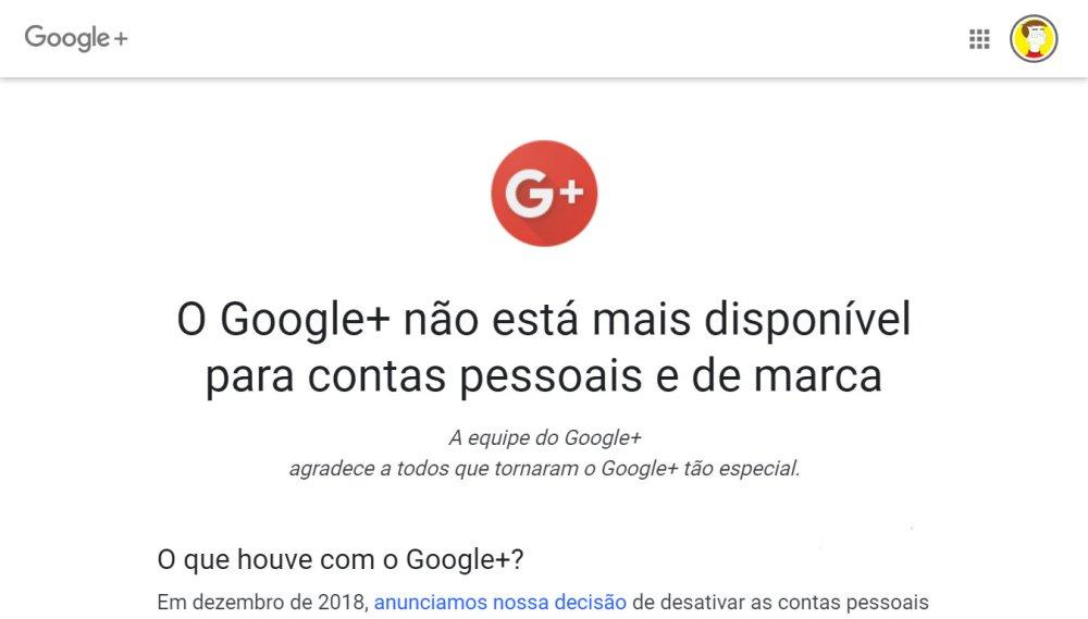 Desativação do Google+