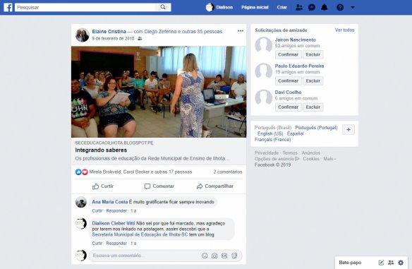 Facebook menção na postagem do blog da educação