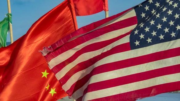 Bandeira da China e dos Estados Unidos
