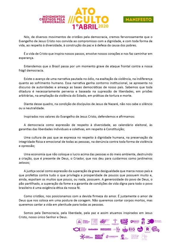 Manifesto do Ato Culto em defesa da Democracia